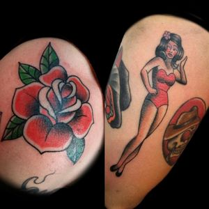 Unos tradis de hoy.. #tattoo #inked #ink #tradi #traditional #traditionaltattoo #tatuajetradicional #tradicionalamericano #girl #pinup #chicapinup #calendargirl #red #redtattoo #luchotattoo #luchotattooer #pergamino