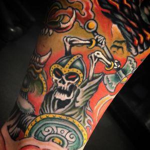 #viking #skull #ragnarok #sleeve #oldschool #traditional #sevendoorstattoo #manusantana