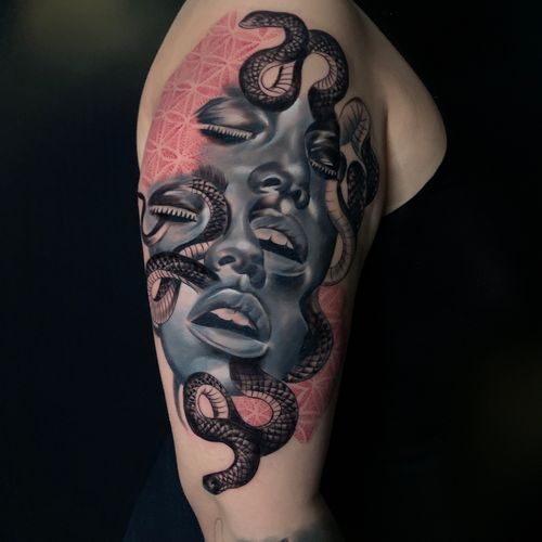 Medusa #wip #ttism #ttt #tattoodesign #tattooidea #buddha #tattooage #tattooflash #enlightenment #universe #blxckink #surrealism #london #cooltattoos #blackandwhite #besttattoos #txttoo #londontattoo #bodyartmag #femaletattooartist #ttblackink #blackworker