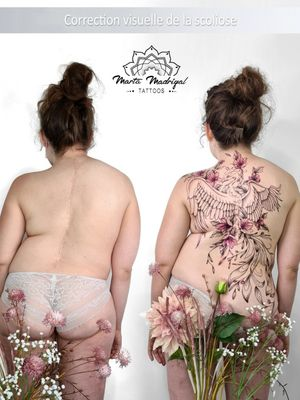 Scoliose cover #MartaMadrigal #fineline #dotwork #illustrative #flower #ornamental #animal #bird