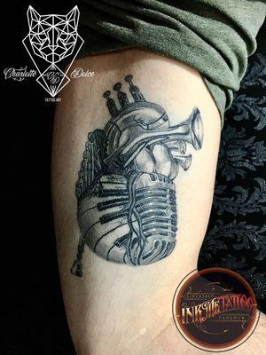 Music heart. Tattoo healed