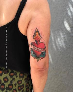 Our love language is tattoos 💖 . . . Super #rad #traditional #sacredheart by @garethdoyetattoos for Madame Machine . . . #tattoo #tattoos #art #colortattoo #capetown #420 #kaapstad #kakluckytattoos #copenhagen #luckyironstattoos #artistsoninstagram #capetownliving #boldwillhold #traditionaltattoo #weekendmood #love #fresh #trad #capetowntattoos