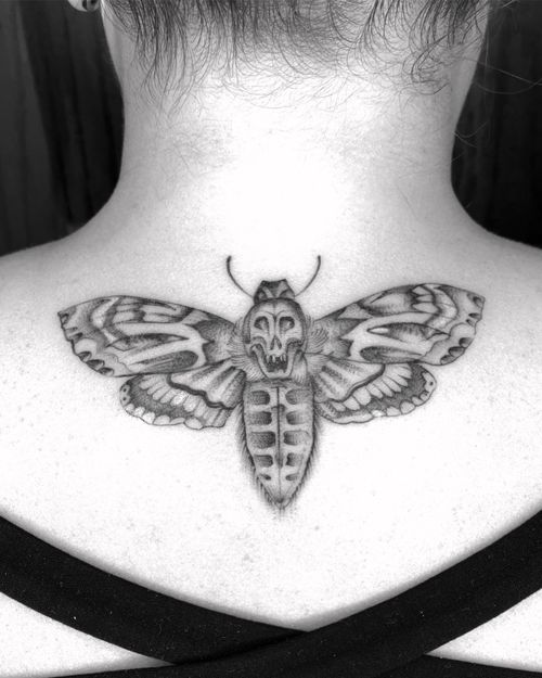 Moth tattoo by Apache Colin #ApacheColin #moth #blackandgrey #illustrative #butterfly #insect #wings #deathmoth