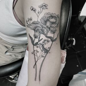 Carnations and baby's breath #fineline #stippling #carnations
