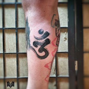Om tattoo done by myself on myself.