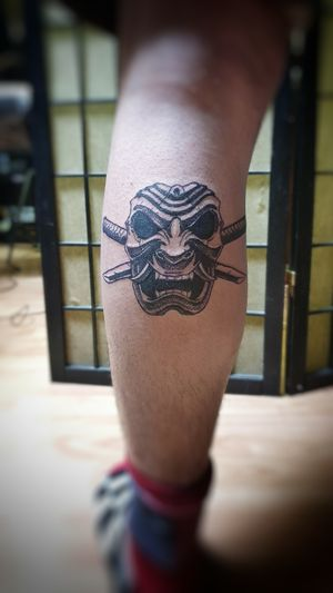 ⚔👹 I had the chance to do this spontaneous samurai mask tattoo yesterday and I had a lot of fun, he came for a touch up but went away with a new tatt😅