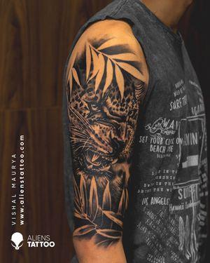 Leopard tattoo by Vishal Maurya at Aliens Tattoo India