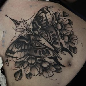 Moth on underboob area. Done in one sitting.