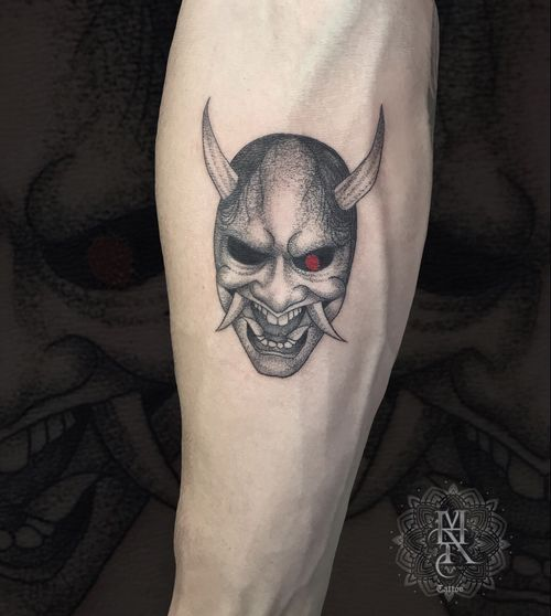 Oni Mask Tattoo Done with Proton Equalizer Mx by Kwadron  MAR TATTOO INK