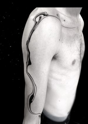 Abstract tattoo by Specimen #Specimen #abstract #blackwork #illustrative #linework #brushwork #brushstroke #painterly