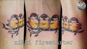 Trio of fluffy lil chickadees 🐥🐥🐥 . . . . #chickadee #ChickadeeTattoo #birds #birb #BirdTattoo #ColorTattoo #CuteTattoo #FullColor #SmallTattoo #WristTattoo #tattoos #BodyArt #BodyMod #modification #ink #art #QueerArtist #QueerTattooist #MnArtist #MnTattoo #VisualArt #TattooArt #TattooDesign #TheTattooedLady #TattooedLadyMN #NikkiFirestarter #FirestarterTattoos #firestarter #MinnesotaTattoo