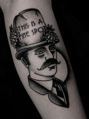Traditional gentleman tattoo by satanischepferde #rdr #strangeman #reddeadredemption #videogametattoo #gentleman #traditional #blackandgrey #boldlines #grave #odd #dark #tattooart #tattooing