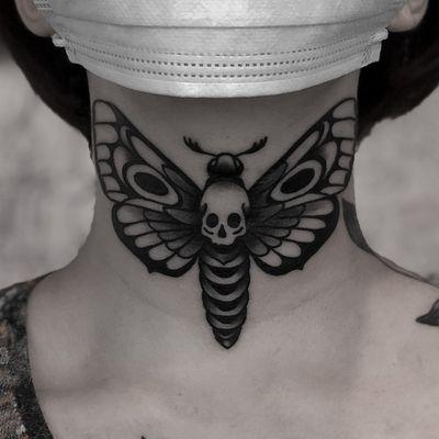 Deaths hawk moth neck tattoo #moth #skull #necktattoo #blackwork #blacktraditional #traditional #dark #blackwork
