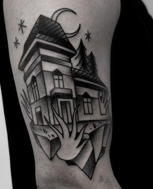 Haunted house traditional tattoo #hauntedhouse #dark #creepy #black #blackwork #traditionaltattoo #mansion #bold #satanischepferde
