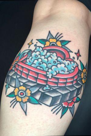 Heart shaped Tub done at Hot Stuff Tattoo. Email chuckdtats@gmail.com for booking info.                              #traditionaltattoo #heart #bathtub #hotstufftattoo