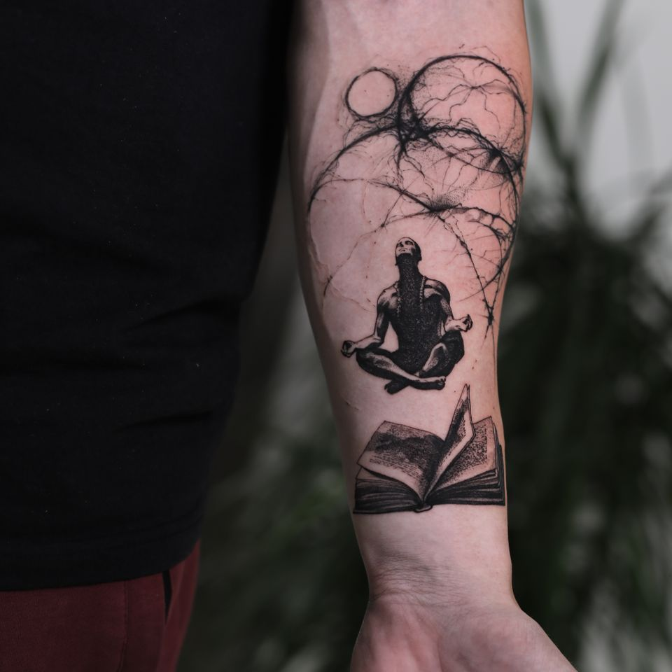 Meditation tattoo by Konstantin aka strokinwork #Konstantin #strokinwork #meditation #abstract #book #meditate #illustrative #realism #blackandgrey