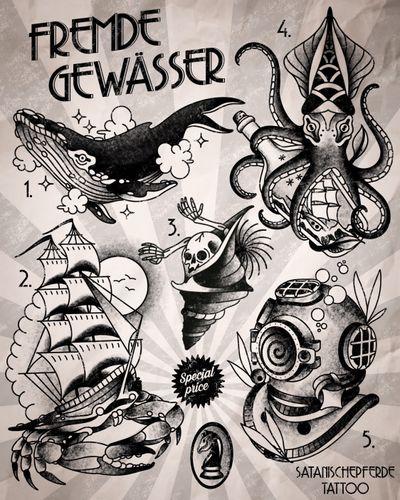 Fremde Gewässer flashset by satanischepferde #whale #diver #helmet #kraken #octopus #seashell #crab #sailor #ship #sailing #nautic #maritime #flashset #wannados #tattoostyle #tattoofash