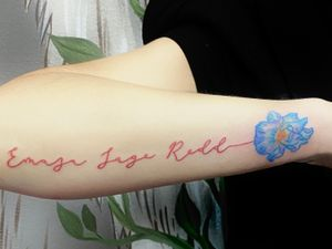 Memorial Name and Flower Tattoo
