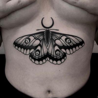 Underboob dark moth tattoo by satanischepferde . #moth #underboob #dark #darkartist #blackwork #darkart #insect #moon #blacktattoo #neotraditional #traditional #whipshading
