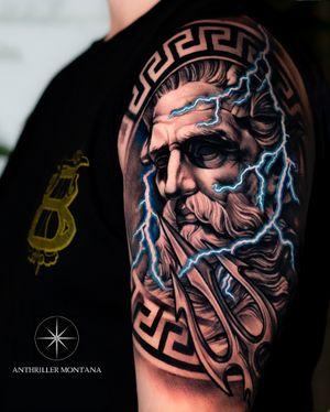 🔱 POSEIDON 🔱 #tattoodo #poseidon #poseidontattoo #greekmythology #sleeve #sleevetattoo #tattoooftheday #tattooart #blackabdgrey #toronto #torontotattoos #anthrillermontana