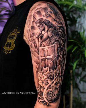 ⚜️ ST MICHAEL ⚜️ #stmichael #archangel #angeltattoo #sleeve #sleevetattoo #tattoooftheday #tattooart #blackandgrey #toronto #torontotattoo #anthrillermontana