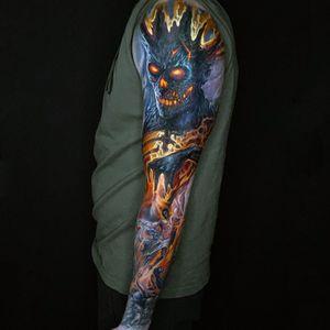 Hell sleeve #helltattoo #deviltattoo #demontattoo #darkart