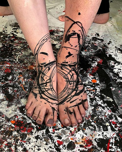 Foot tattoo for a couple...This piece is a representation of the union between two soulmates ...love is everything.