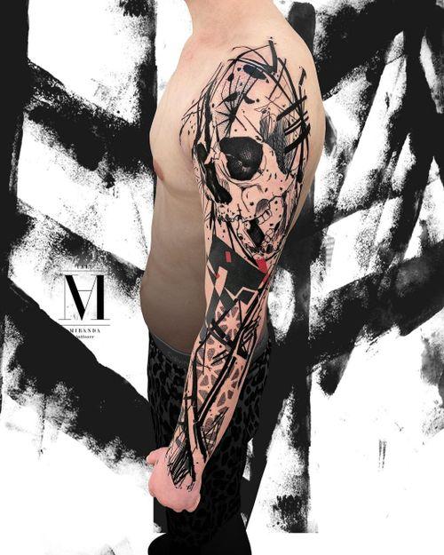 Crazy black skull.....Abstract concept Avantgarde style ...
