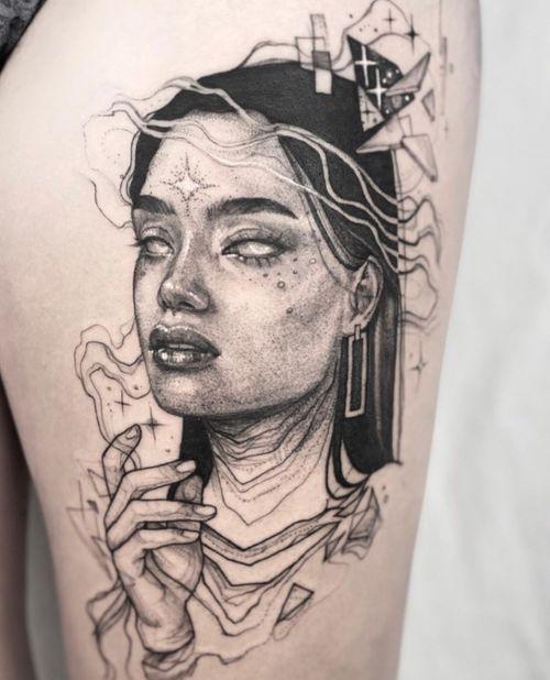 Portrait tattoo by Antonia Sullivan #AntoniaSullivan #space #cosmic #portrait #tattoo #stars #sparkle