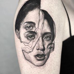 Tattoo by Antonia Sullivan #AntoniaSullivan #portraitattoo #surrealtattoo #yyctattoo #yvrtattoo #calgarytattoo #realismtattoo #contemporarytattoo #abstracttattoo #doubleexposure #ferntattoo #naturetattoo #blkttt #blackworkerssubmission #blxckink #blxck #b