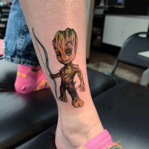 I am groot #groot #tattoo #marvel #disney #cooltattoos #iamgroot #fortworthartist #texastattoos #dallasartist #colortattoo