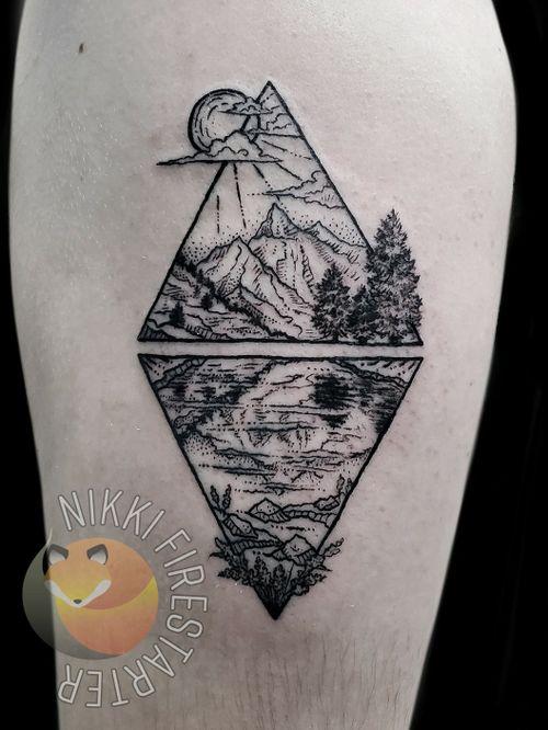 Triangles & nature!  . . . . #geometry #GeometricTattoo #NatureTattoo #nature #mountains #trees #reflection #BlackTattoo #GraphicTattoo #GraphicArt #DotWork #tattoos #BodyArt #BodyMod #modification #ink #art #QueerArtist #QueerTattooist #MnArtist #MnTattoo #VisualArt #TattooArt #TattooDesign #TheTattooedLady #TattooedLadyMN #NikkiFirestarter #FirestarterTattoos #firestarter #MinnesotaTattoo