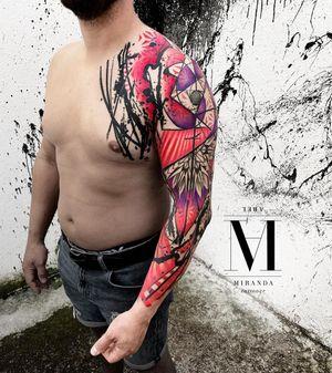 Full sleeve, colorfull tattoo by Abel Miranda