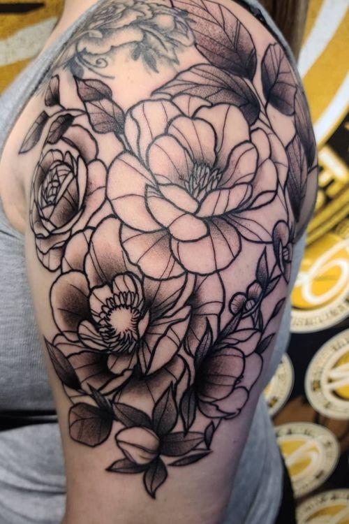 Flowers #flower #cooltattoos #floral #fortworthartist #dallasartist #texastattoos #blackandgreytattoo #stippletattoo #blackworktattoo
