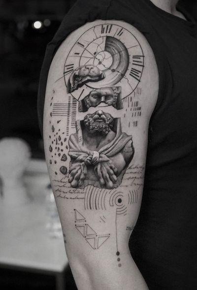 Hercules • • Sponsored by @eztattooing @panormostattoo @tattoobull.lab #vselect #vselectcartridges #tattoo #art #history #lion #statue #composition #bodyart #davinci #esquisse #blackandgreytattoo #black #ink #inkstinctsubmission ##blackwork #tatts #inkedmag #tattooist #artist #sametyamantattoos #tattoodo #design #tattoodesigner