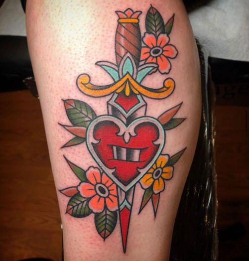 Heart and dagger with flowers