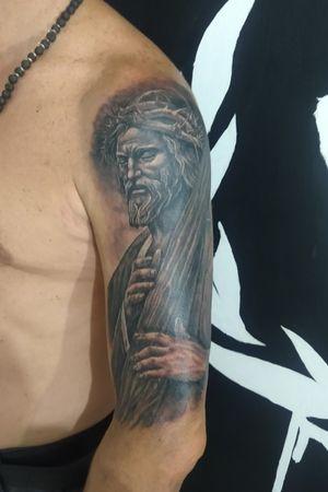 Jesus, half sleeve. Realistic.