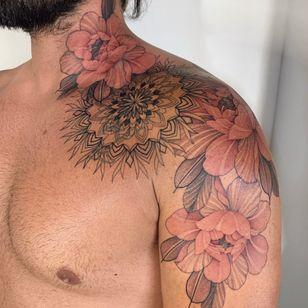 Tattoo by Nora Ink #NoraInk #chrysanthemum #flower #floral #fineline #pink #red #illustrative #mandala #sacredgeoemetry #geometric