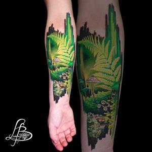 forest tattoo, ferns, mushrooms, brushstrokes