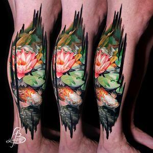 koi fish, lotus, lilly, brushstrokes