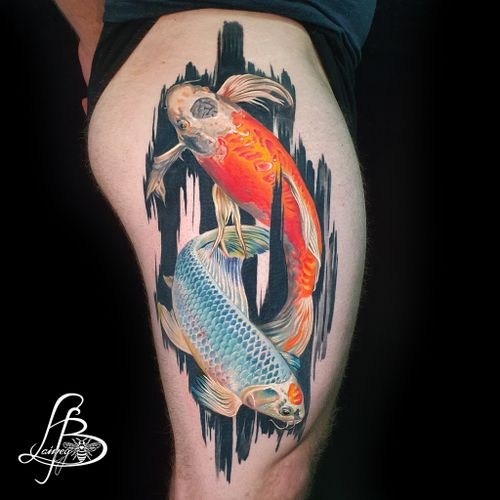 koi fish with signature brushstrokes