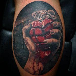 Green day tattoo heart hand grenade #greenday #GreenDay #handgrenade #americanidiot
