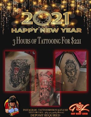 3 hours of tattooing for $221