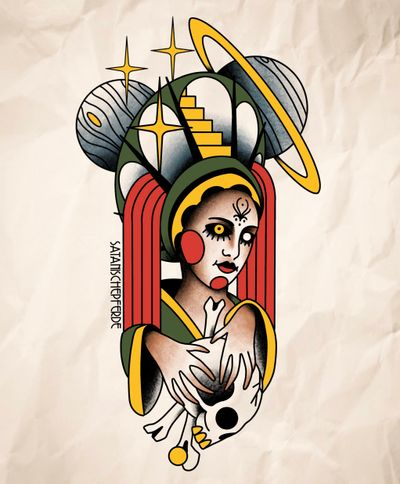 traditional cosmic astro woman by satanischepferde #cosmic #planets #saturn #skull #magician #holy #witch #witchcraft #religious #cult #traditional #olschool #tattoo #design #sketch #erfurt #foreseeing #cultist #dark #magic