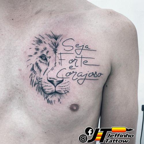 Tatuagem Leão com frase