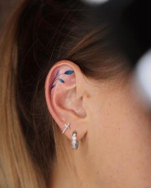 Tiny color ear tattoo #eartattoo #colortattoo #inked