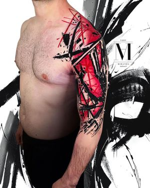Colorful Arm tattoo abstract, avantgarde style. Abstract concept Avantgarde style ...
