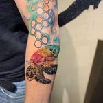 Watercolor sea turtle #texastattoos #watercolortattoo #turtle #realism #fortworthartist #dallasartist #ladieswithtattoos #cooltattoos