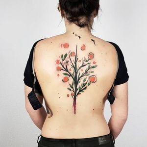 Tattoo by Rupe #Rupe #watercolor #sketch #illustrative #painterly #orange #tree