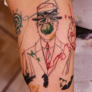 Tattoo by Rupe #Rupe #watercolor #sketch #illustrative #painterly #magritte